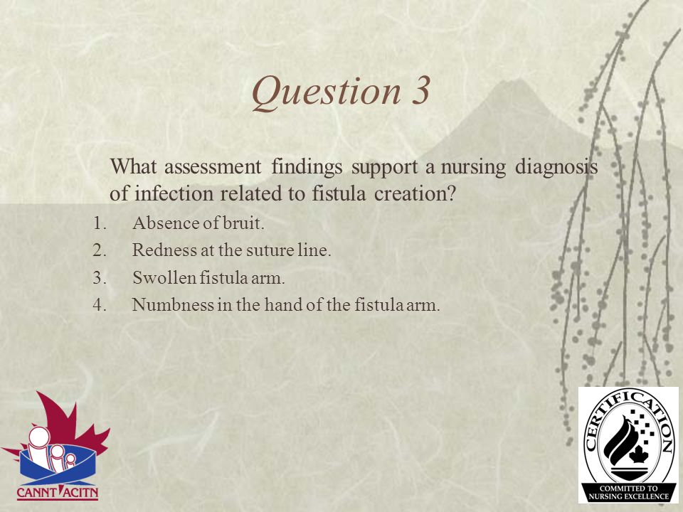Question 3 What assessment findings support a nursing diagnosis of infection related to fistula creation