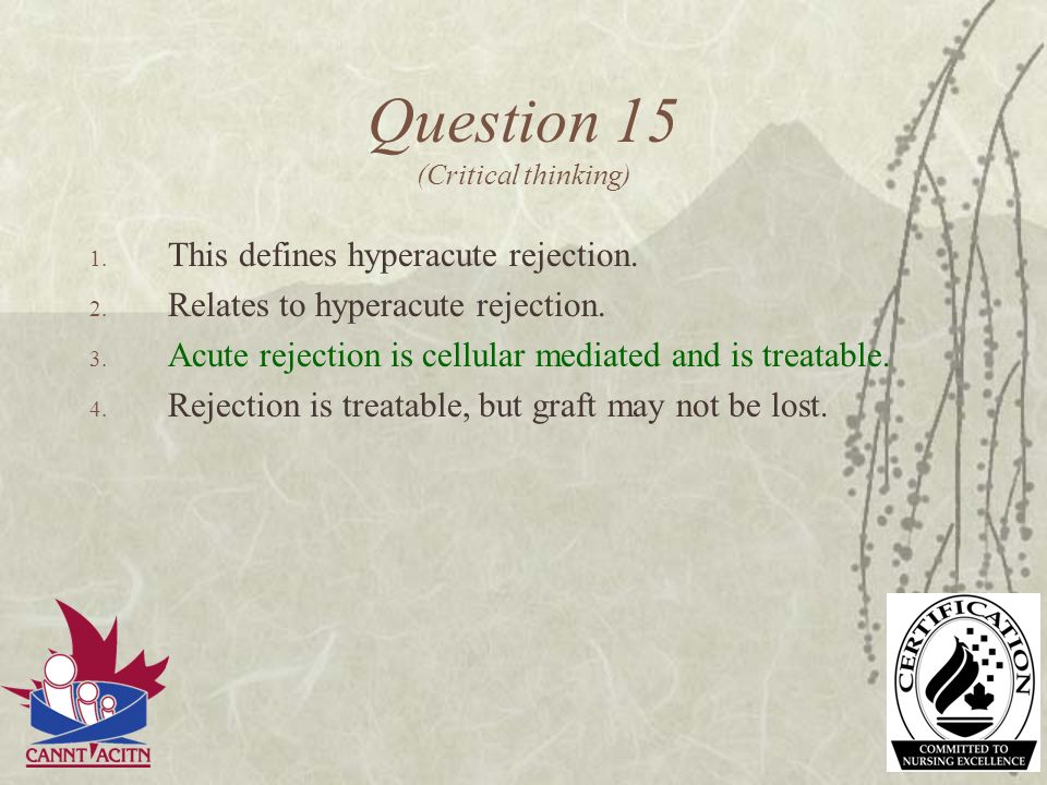 Question 15 (Critical thinking)