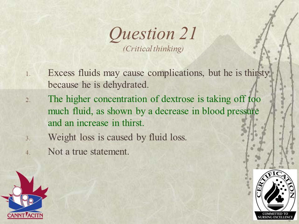 Question 21 (Critical thinking)
