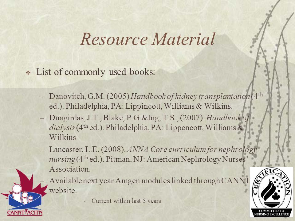 Resource Material List of commonly used books: