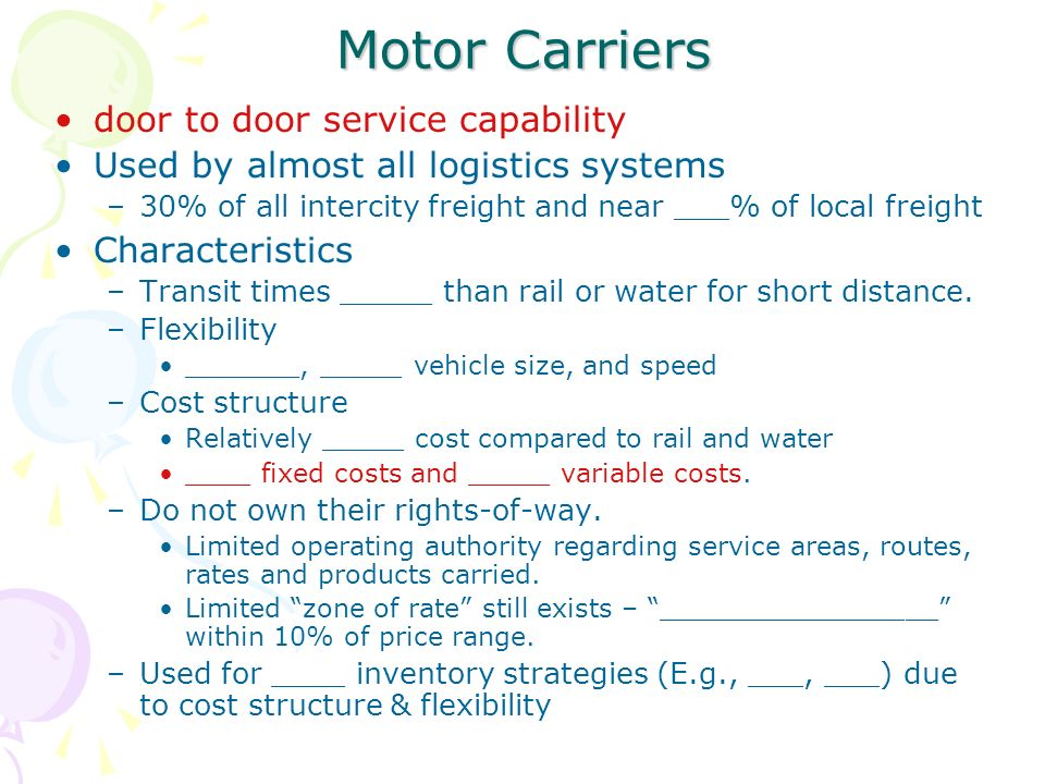Chapters 5 transportation systems management ppt video for Motor freight shipping rates