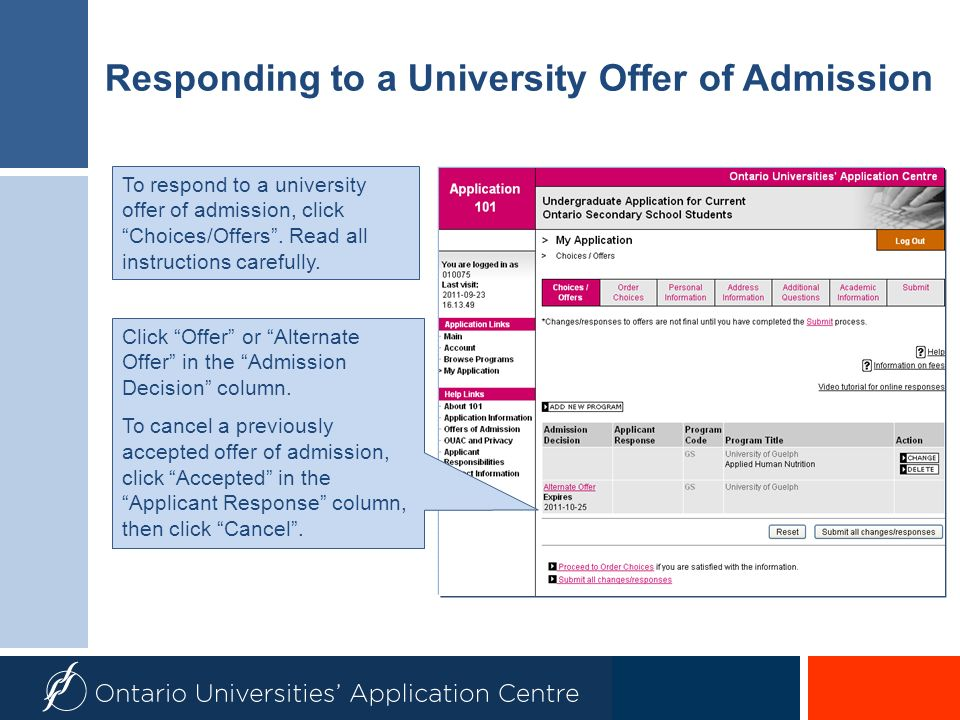 Responding to a University Offer of Admission