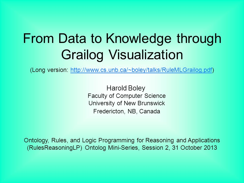 From Data to Knowledge through Grailog Visualization