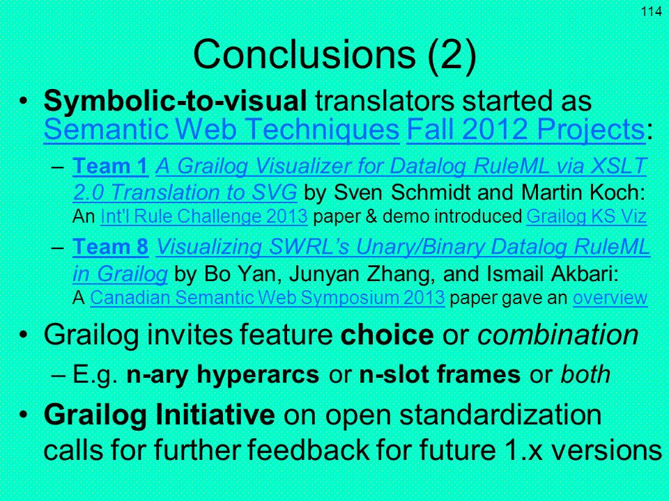 Conclusions (2) Symbolic-to-visual translators started as Semantic Web Techniques Fall 2012 Projects:
