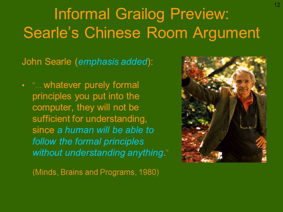 Informal Grailog Preview: Searle's Chinese Room Argument