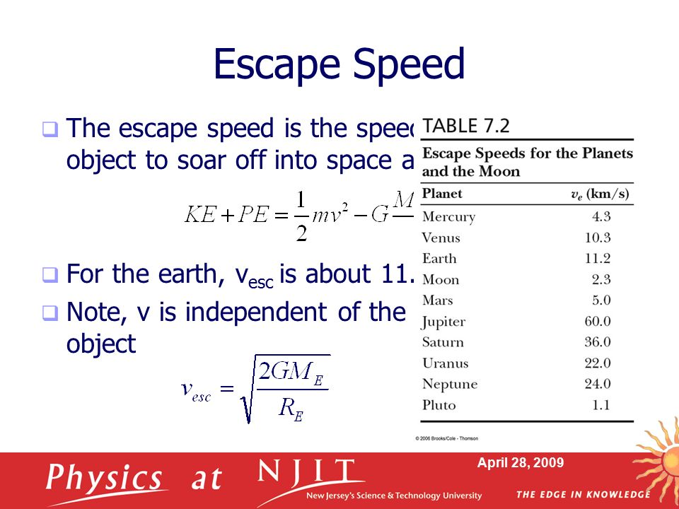 Escape Speed The escape speed is the speed needed for an object to soar off into space and not return.