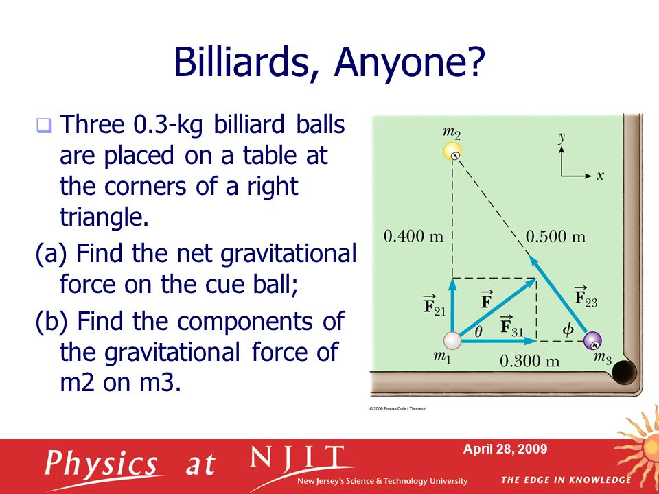 Billiards, Anyone Three 0.3-kg billiard balls are placed on a table at the corners of a right triangle.
