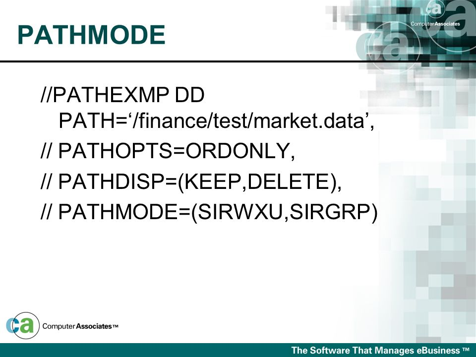 PATHMODE //PATHEXMP DD PATH='/finance/test/market.data',