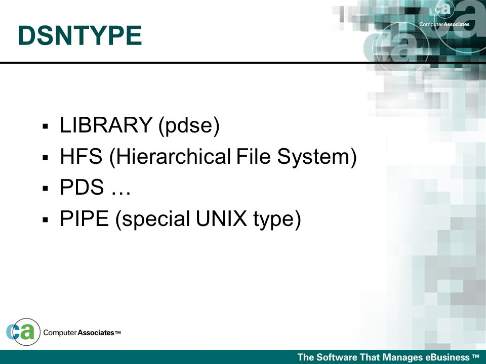 DSNTYPE LIBRARY (pdse) HFS (Hierarchical File System) PDS …