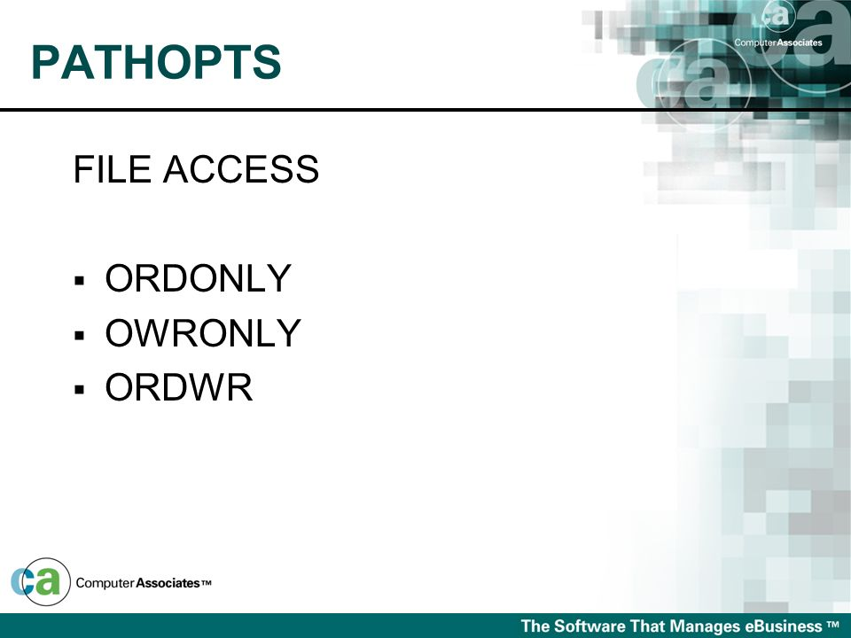 PATHOPTS FILE ACCESS ORDONLY OWRONLY ORDWR