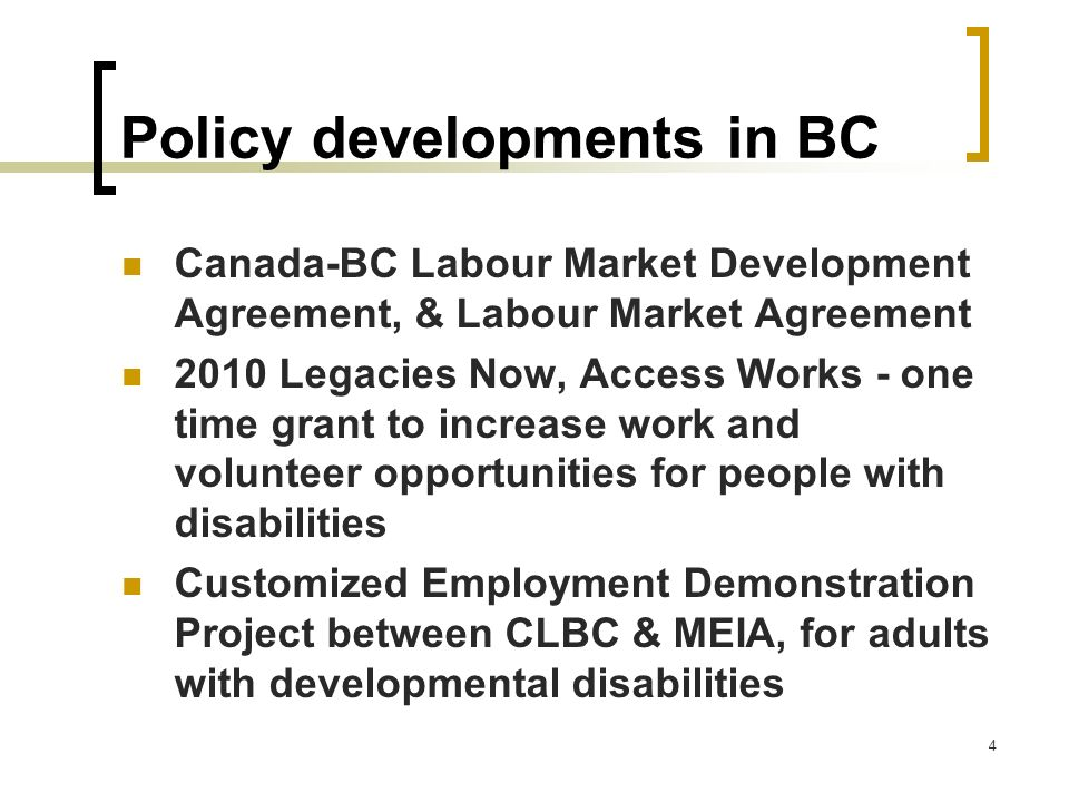 Policy developments in BC