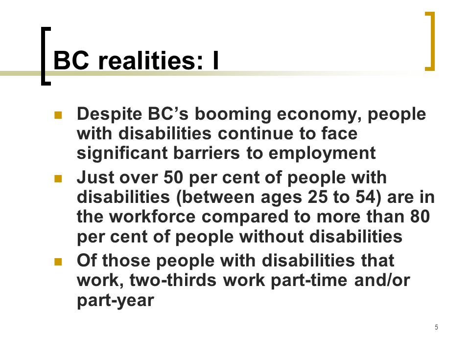 BC realities: I Despite BC's booming economy, people with disabilities continue to face significant barriers to employment.