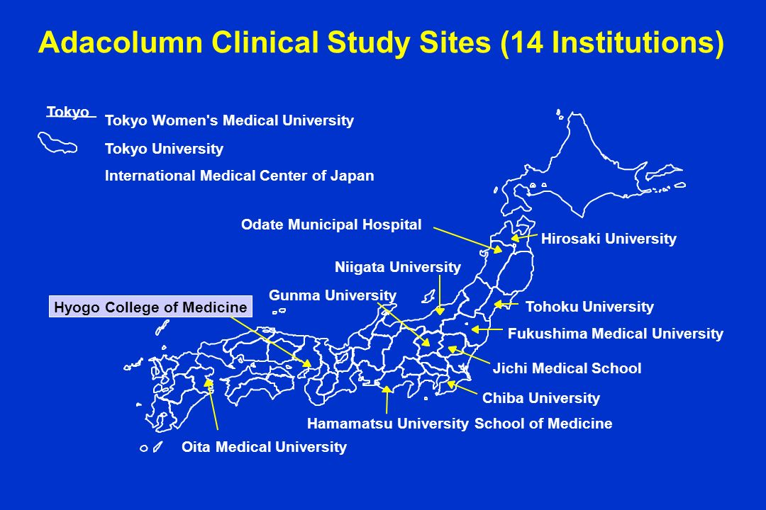 Adacolumn Clinical Study Sites (14 Institutions)