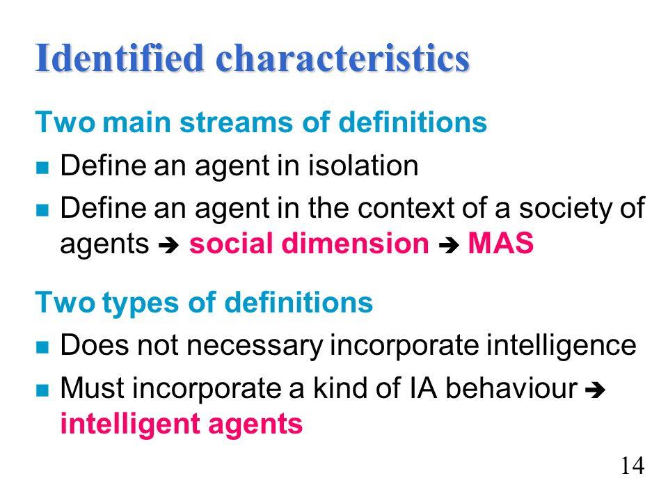 Identified characteristics
