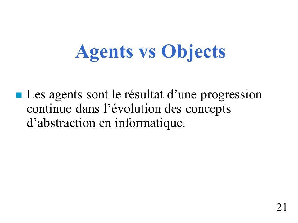 Agents vs Objects Les agents sont le résultat d'une progression continue dans l'évolution des concepts d'abstraction en informatique.