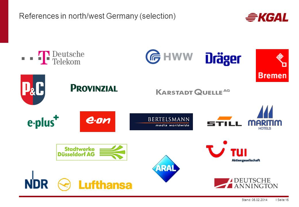 References in north/west Germany (selection)