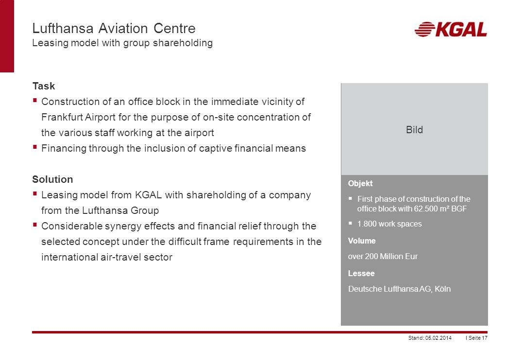Lufthansa Aviation Centre Leasing model with group shareholding