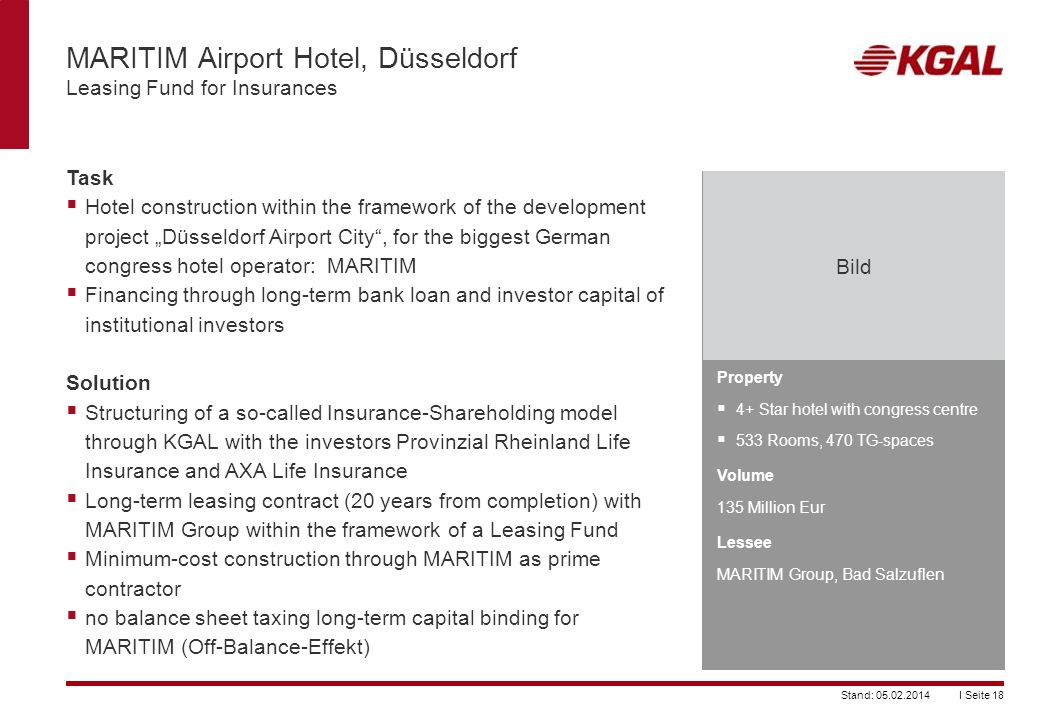 MARITIM Airport Hotel, Düsseldorf Leasing Fund for Insurances