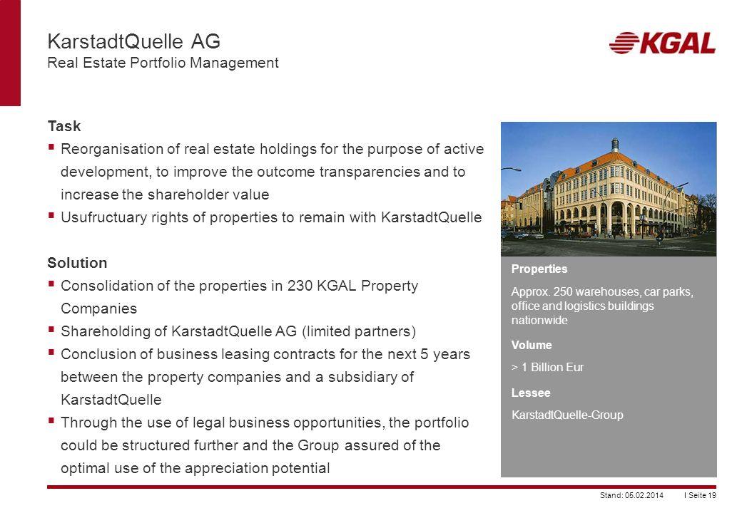 KarstadtQuelle AG Real Estate Portfolio Management