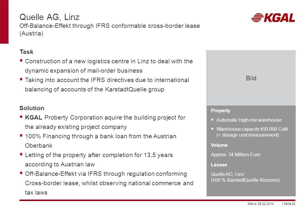 Quelle AG, Linz Off-Balance-Effekt through IFRS conformable cross-border lease (Austria)