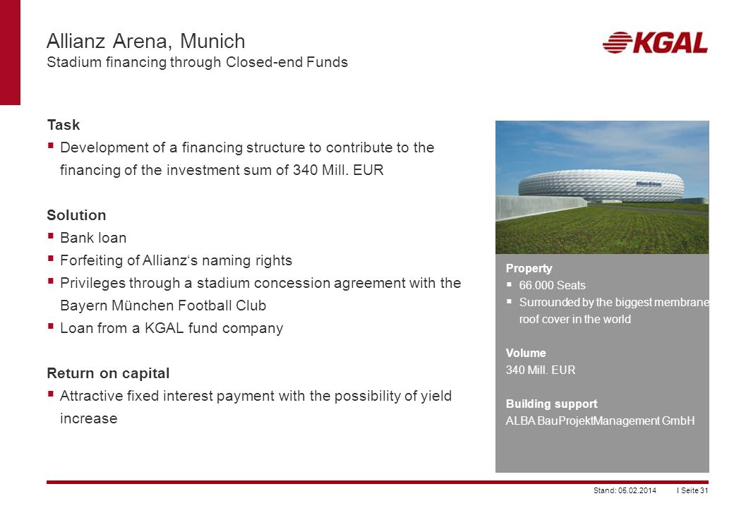 Allianz Arena, Munich Stadium financing through Closed-end Funds