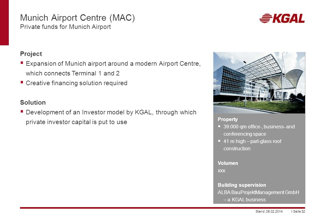 Munich Airport Centre (MAC) Private funds for Munich Airport