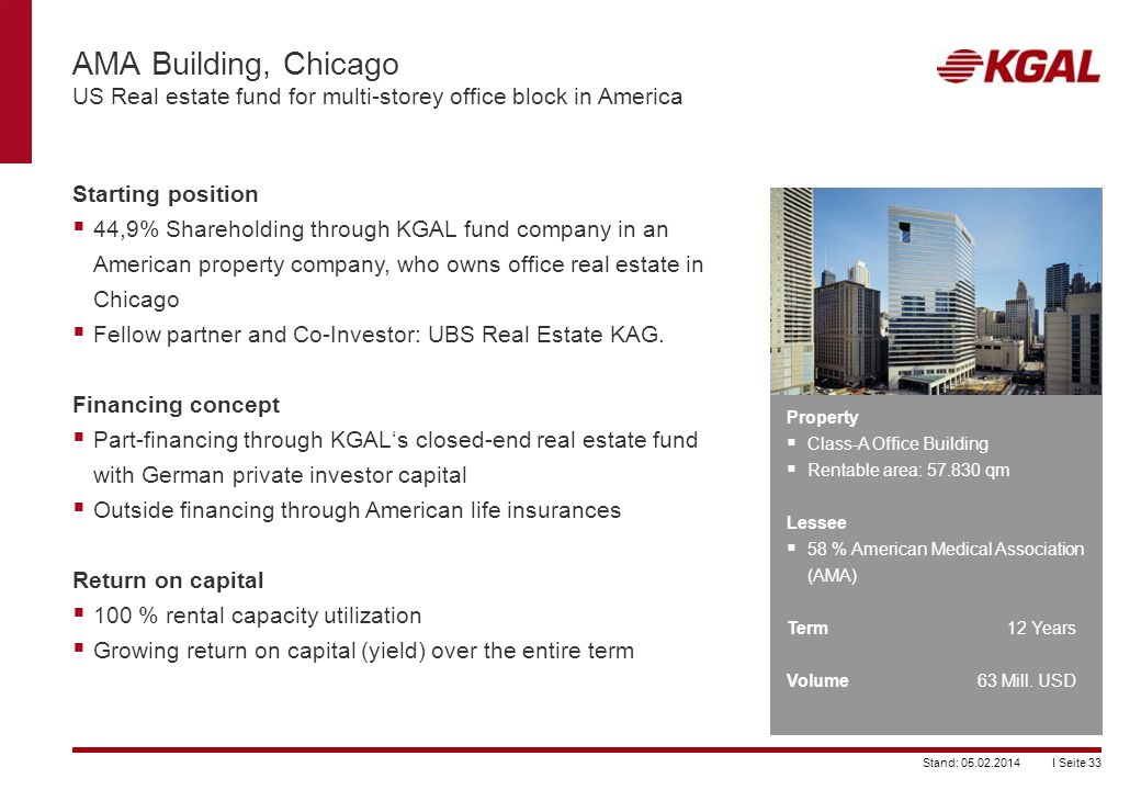AMA Building, Chicago US Real estate fund for multi-storey office block in America