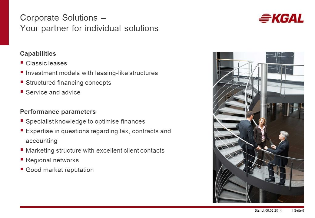 Corporate Solutions – Your partner for individual solutions