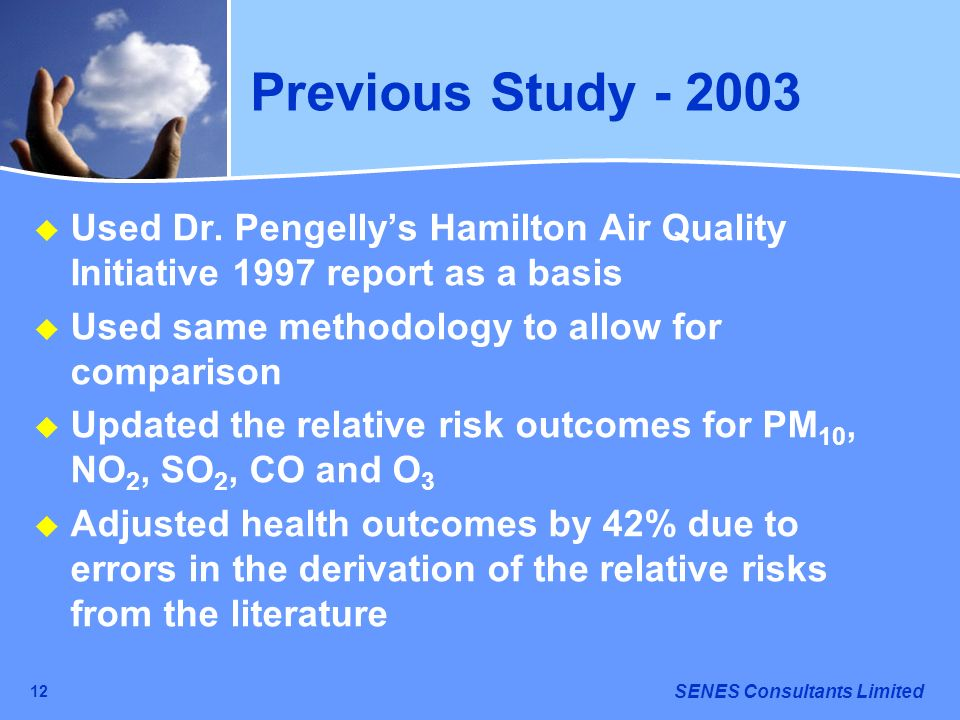 Previous Study - 2003Used Dr. Pengelly's Hamilton Air Quality Initiative 1997 report as a basis. Used same methodology to allow for comparison.
