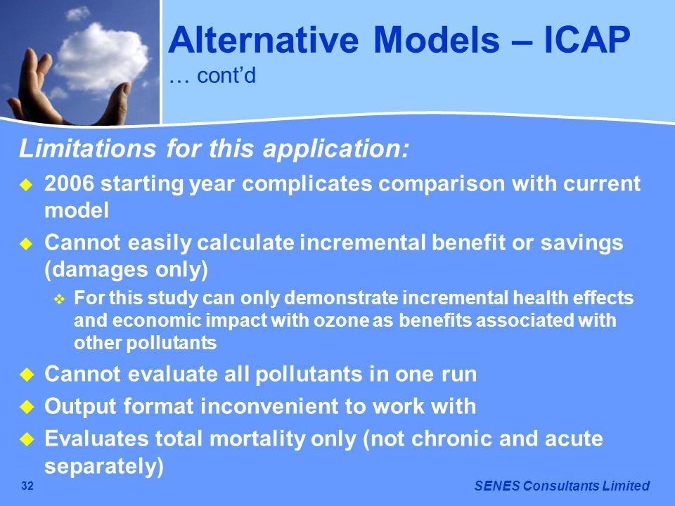 Alternative Models – ICAP … cont'd