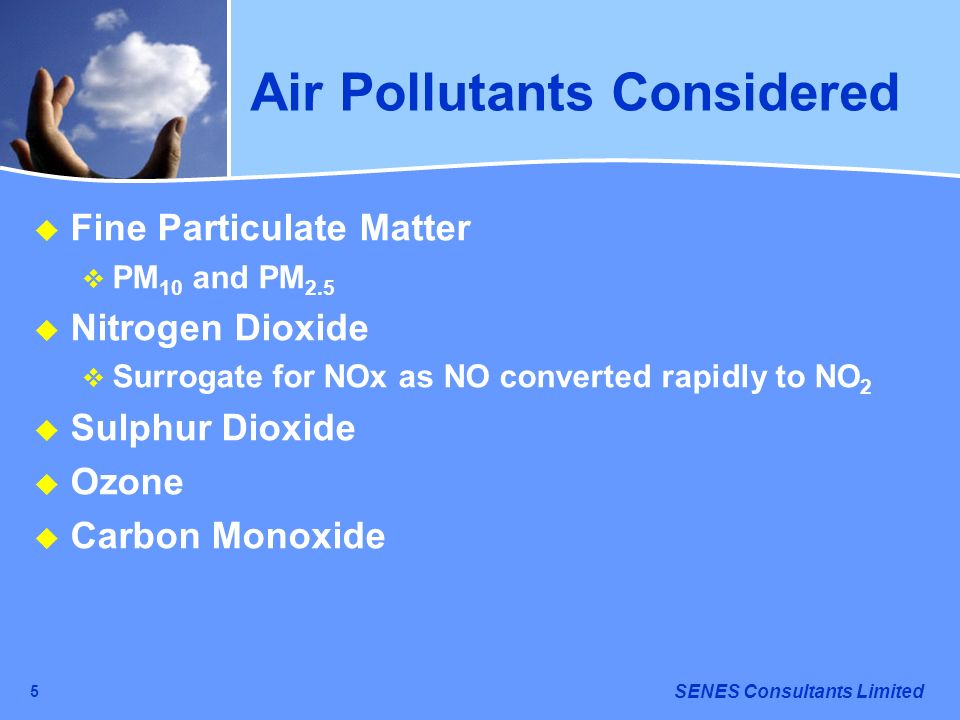 Air Pollutants Considered
