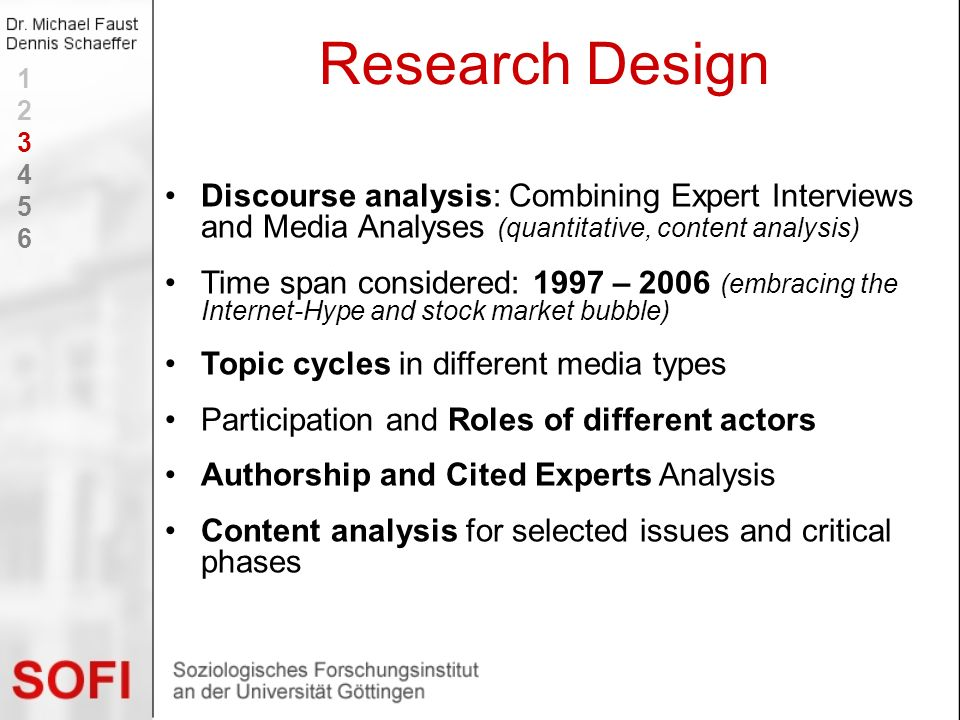 Research Design 1. 2. 3. 4. 5. 6. Discourse analysis: Combining Expert Interviews and Media Analyses (quantitative, content analysis)