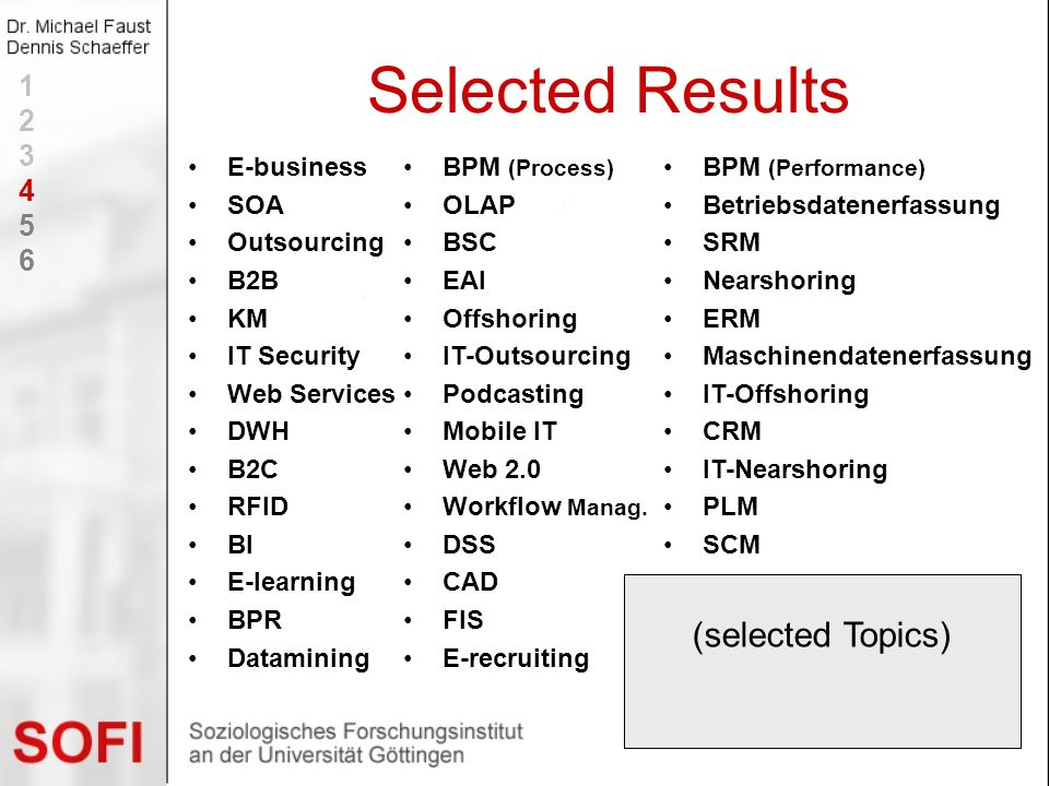 Selected Results (selected Topics) 1 2 3 4 5 6 E-business SOA