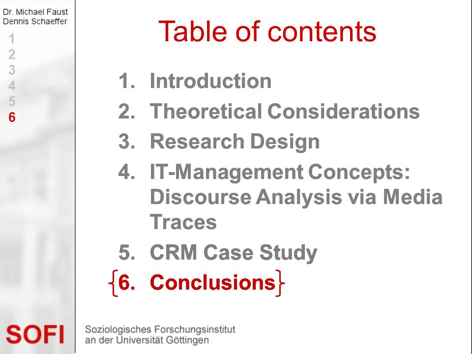 Table of contents Introduction Theoretical Considerations