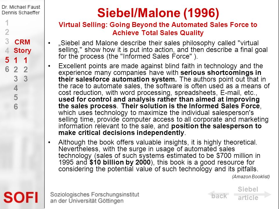 Siebel/Malone (1996) Virtual Selling: Going Beyond the Automated Sales Force to Achieve Total Sales Quality