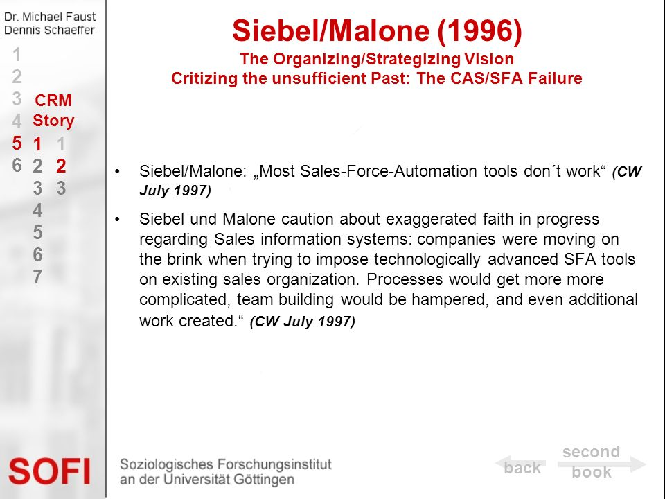 Siebel/Malone (1996) The Organizing/Strategizing Vision Critizing the unsufficient Past: The CAS/SFA Failure