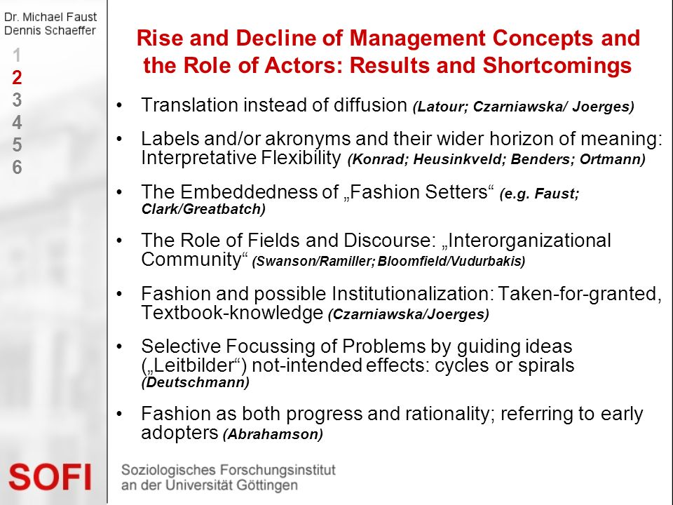 Rise and Decline of Management Concepts and the Role of Actors: Results and Shortcomings