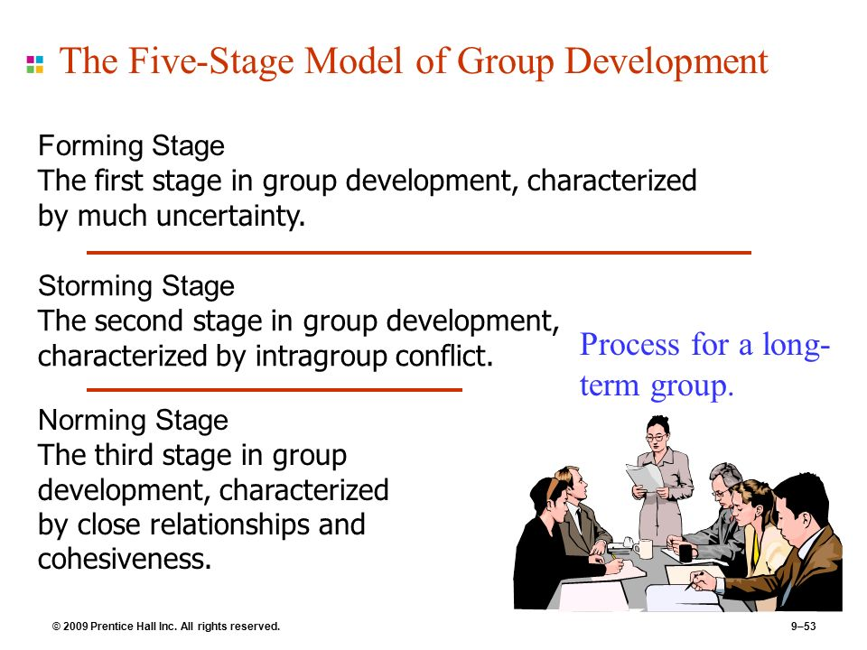the 5 stages of group processing Bruce tuckman distinguishes five stages of group development these stages need not always be strictly followed one after the other teams often get stuck halfway through the process rules of behaviour and agreements will then have to be drawn up but these are not always very productive during the first two stages of the tuckman stages of group development, it is about social-emotional.