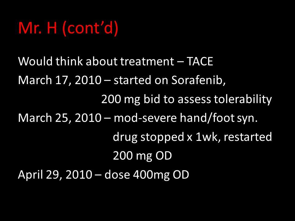 Mr. H (cont'd) Would think about treatment – TACE