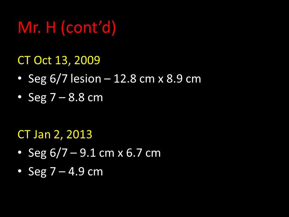 Mr. H (cont'd) CT Oct 13, 2009 Seg 6/7 lesion – 12.8 cm x 8.9 cm