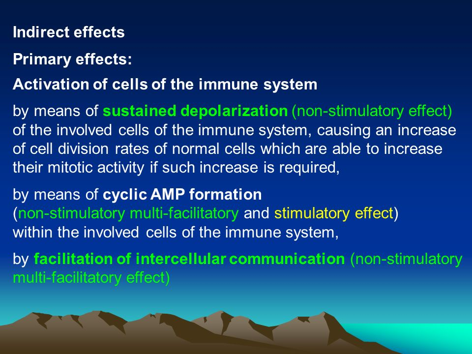 Indirect effects Primary effects: Activation of cells of the immune system.