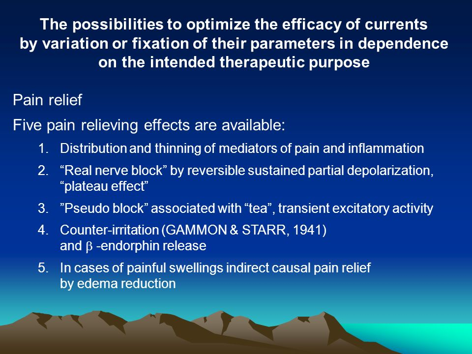 The possibilities to optimize the efficacy of currents by variation or fixation of their parameters in dependence on the intended therapeutic purpose