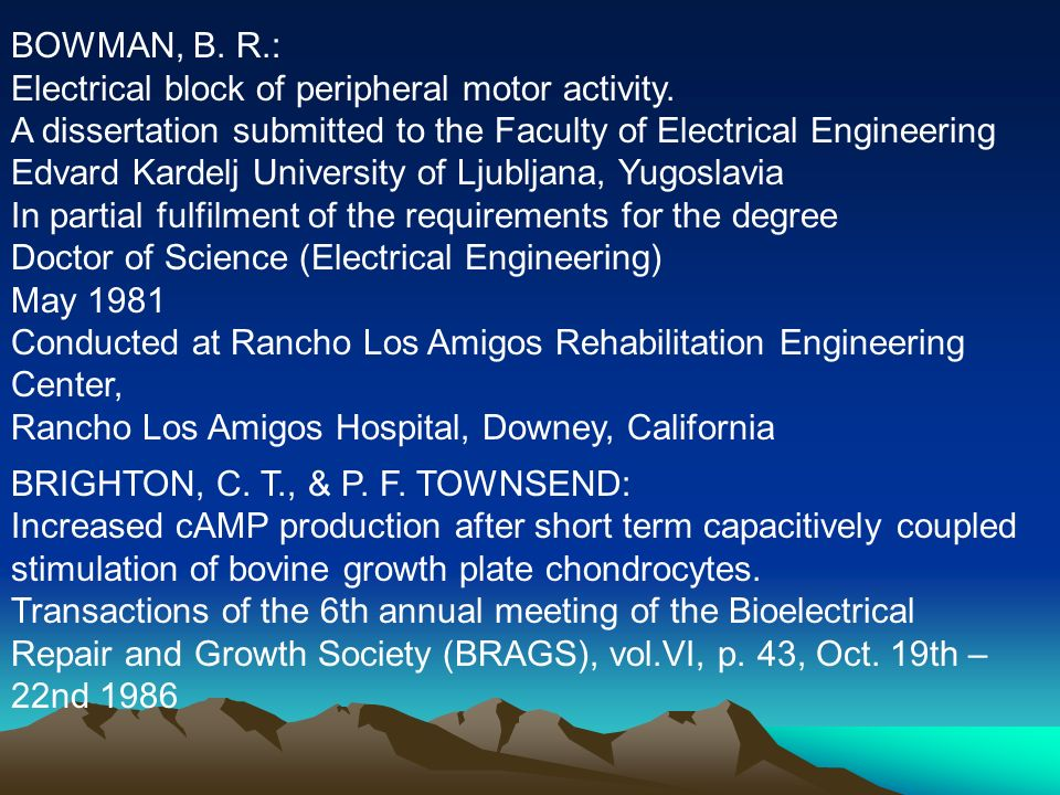 BOWMAN, B. R.: Electrical block of peripheral motor activity. A dissertation submitted to the Faculty of Electrical Engineering.
