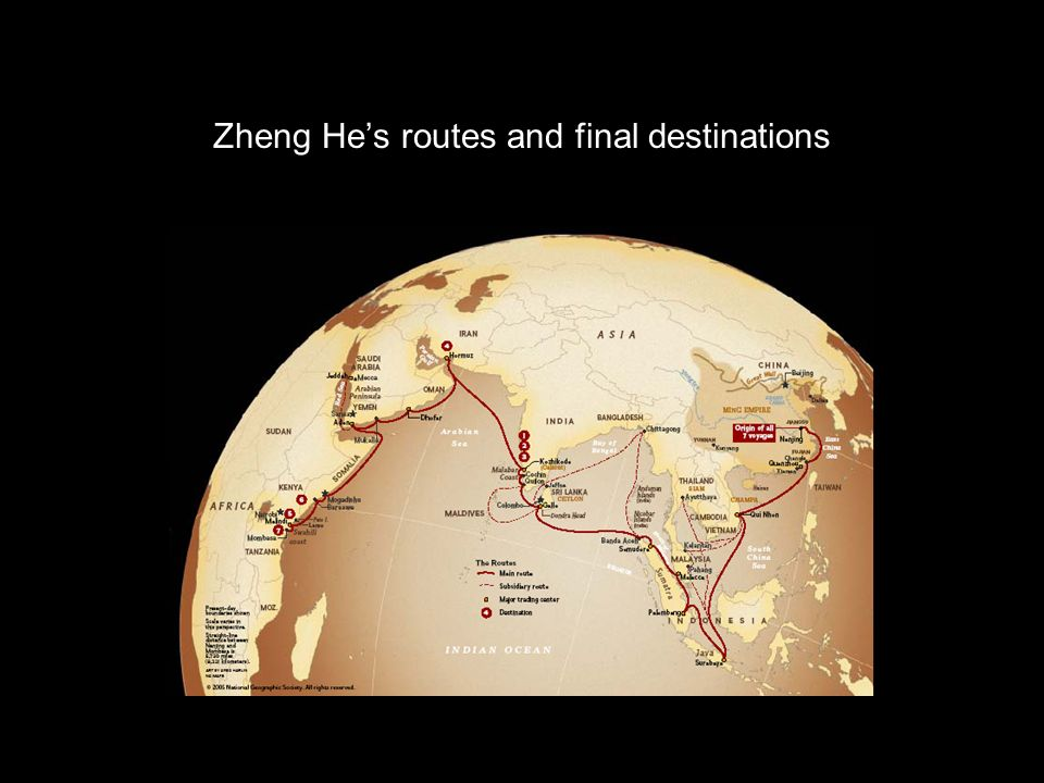 Zheng He's routes and final destinations