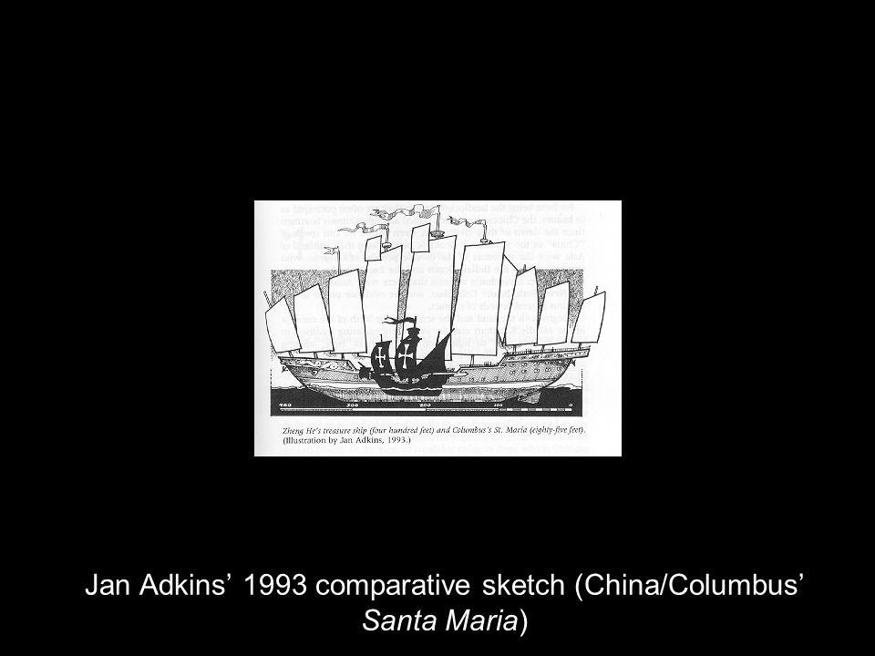 Jan Adkins' 1993 comparative sketch (China/Columbus' Santa Maria)