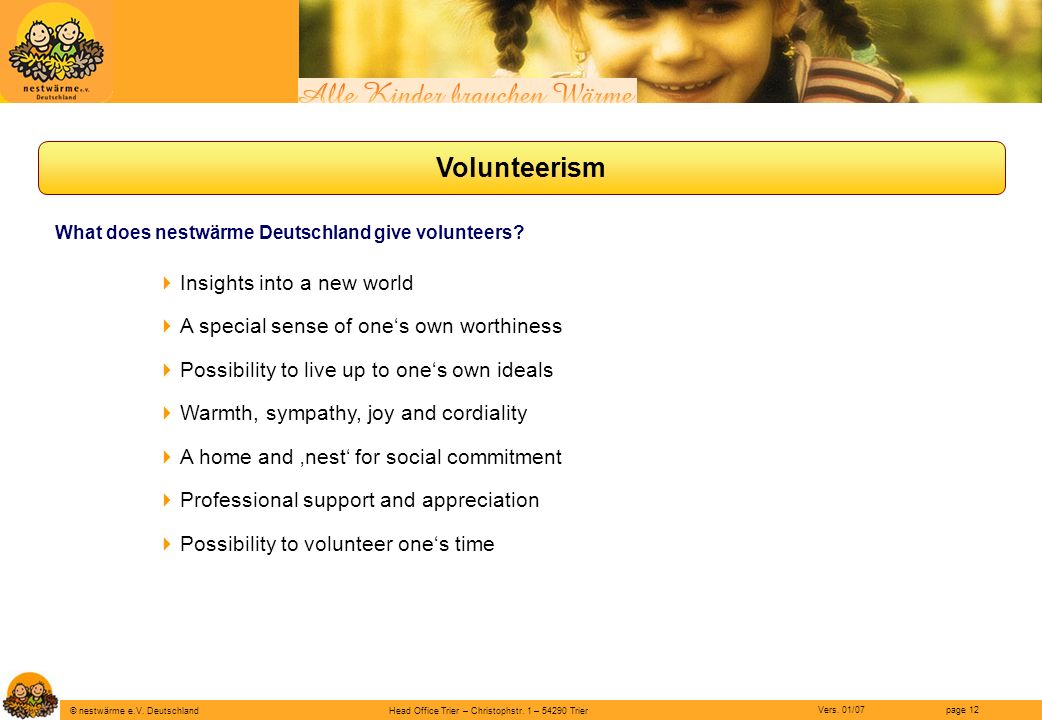 Volunteerism Insights into a new world