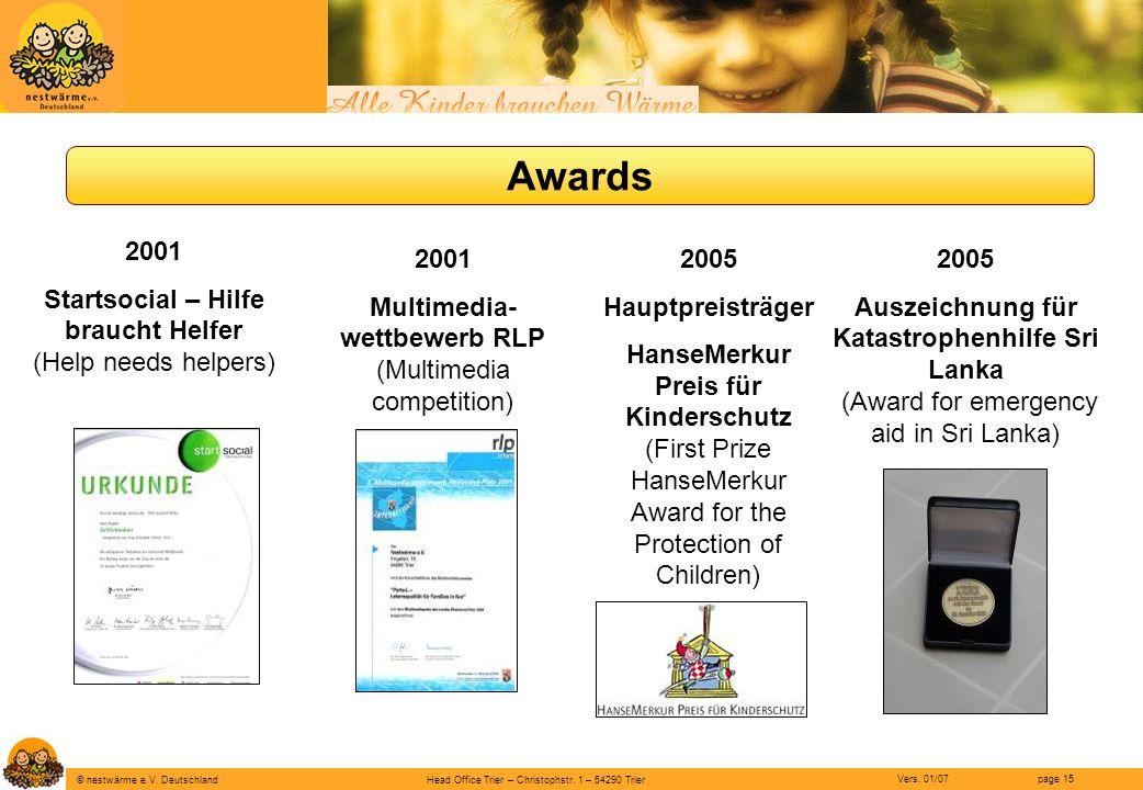 Awards 2001 Startsocial – Hilfe braucht Helfer (Help needs helpers)