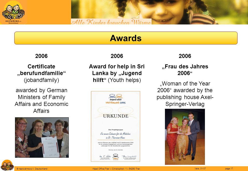 "Awards 2006 Certificate ""berufundfamilie (jobandfamily)"
