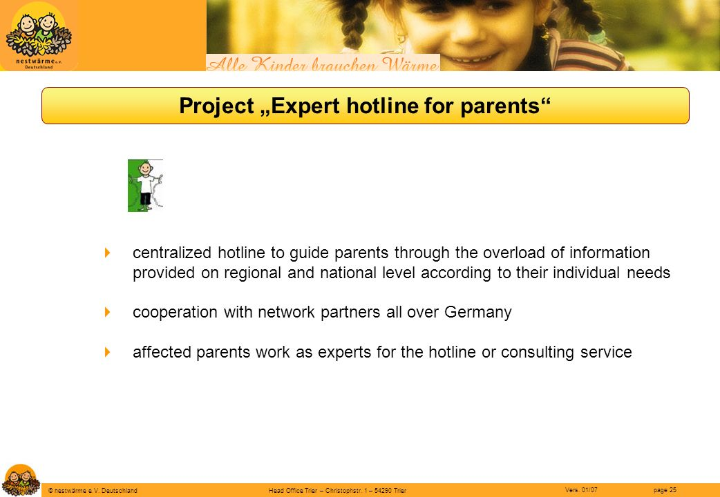 "Project ""Expert hotline for parents"