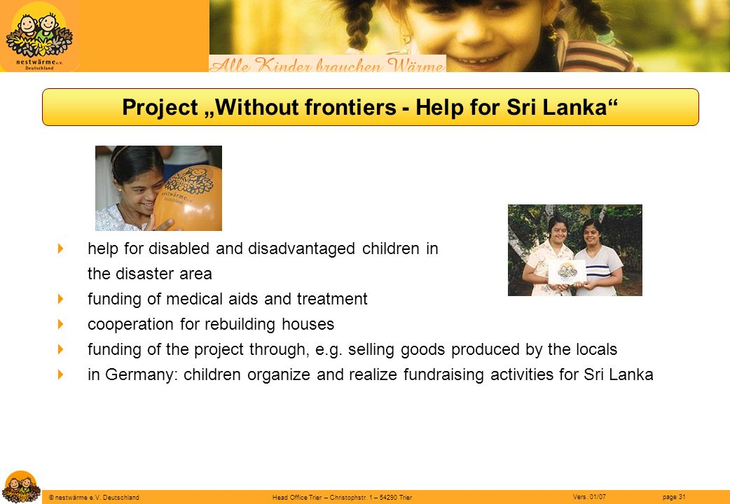 "Project ""Without frontiers - Help for Sri Lanka"